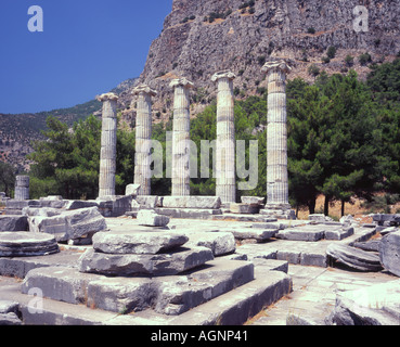 Temple of Aphrodite ancient greek Priene Turkey - Stock Photo