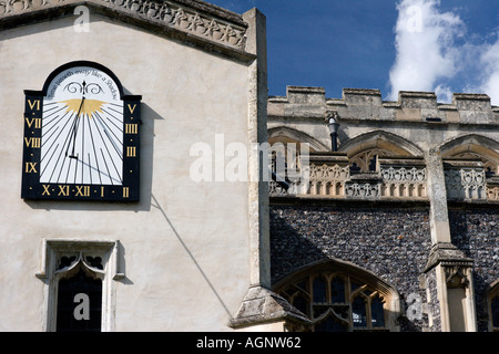 Sundial on church of St Mary the Virgin,Rectory Hill,East Bergholt,Suffolk,England - Stock Photo