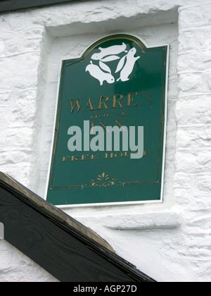Pub Sign, The Warren House Inn, Dartmoor National Park, Devon, England - Stock Photo