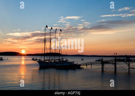 Sunrise in Frenchman Bay Acadia National Park Maine USA - Stock Photo