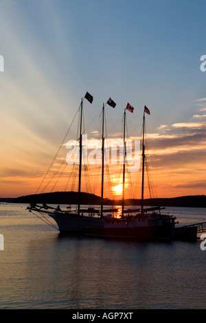 Sunrise in Bar Harbor near Maine s Acadia National Park Four masted schooner The Margaret Todd - Stock Photo
