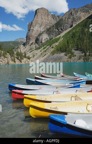Maraine Lake near Lake Louise in Banff National Park in Alberta Canada - Stock Photo