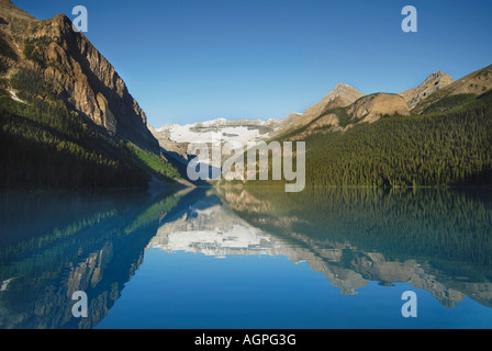 Lake Louise at sunrise in Banff National Park in Alberta Canada - Stock Photo
