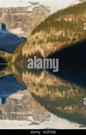 Lake Louise at dawn in Banff National Park in Alberta Canada - Stock Photo