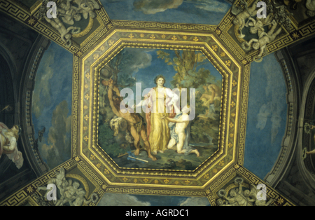Italy rome painted ceiling in a gallery at vatican museums - Stock Photo