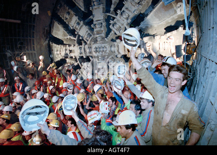 The historic final Anglo French Channel Tunnel undersea breakthrough on 28th June 1991of the French Boring Machine - Stock Photo