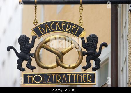 Baker's shop wrought iron sign. Salzburg, Austria. - Stock Photo