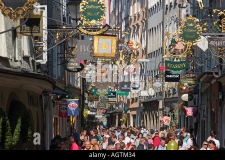 Getreidegasse street. Salzburg, Austria. - Stock Photo