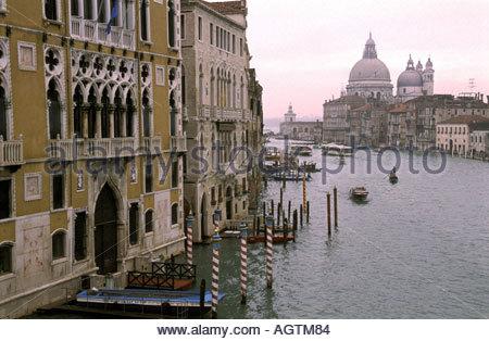 Classic view across the Grand Canal from Academia towards Santa Maria della Salute church Venice I - Stock Photo