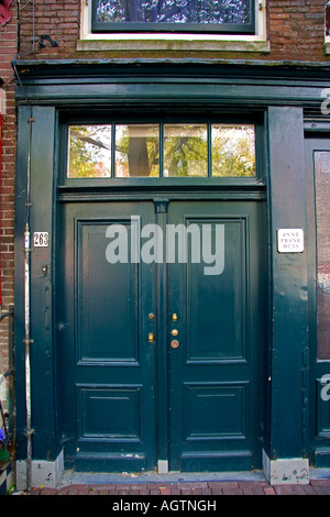 Front door of the Anne Frank House in Amsterdam Netherlands - Stock Photo