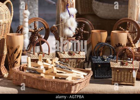 Local souvenirs on display in a gift shop. Hohensalzburg fortress, Salzburg, Austria. - Stock Photo