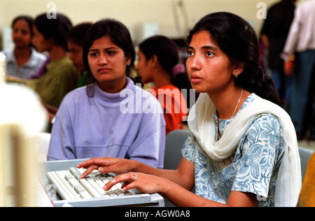 Female programmers in Bangalore are becoming a significant force with the India software market - Stock Photo
