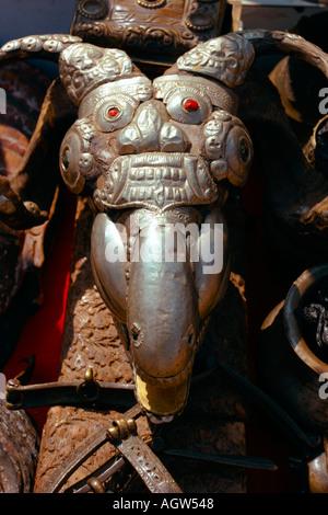 Sheep skull for sale at market in Patan Durbar Square Kathmandu valley Nepal - Stock Photo