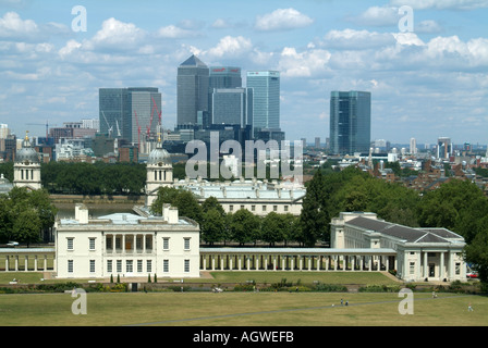 Greenwich Park with Queens House River Thames Isle of Dogs Canary Wharf developments beyond seen from Greenwich - Stock Photo