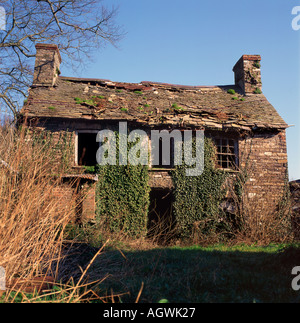 Derelict abandoned old stone house cottage with loose roof tiles Wales, UK KATHY DEWITT - Stock Photo