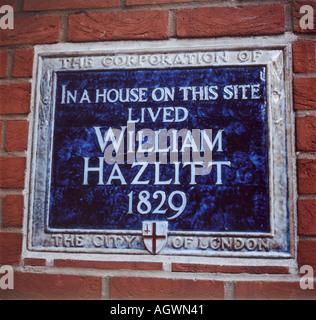 William Hazlitt blue plaque near St Pauls London UK - Stock Photo