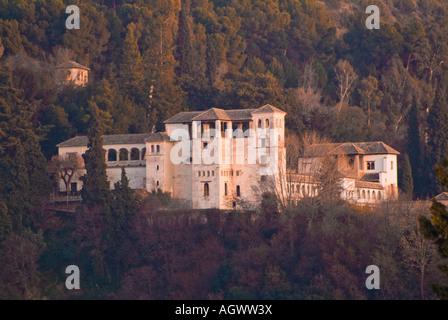 Estate viewed from plaza de San Nicolas Albaycin Alhambra Granada Spain - Stock Photo