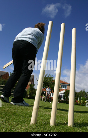 Adults playing cricket in a garden A family in summer - Stock Photo