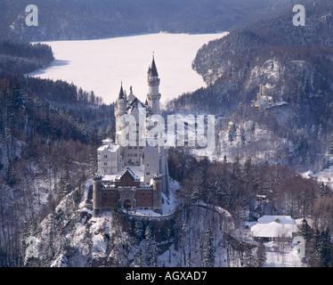The castle Neuschwanstein near Fuessen Germany - Stock Photo