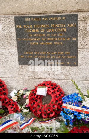 Wreaths at Ulster Tower Memorial commemorating the 36th Ulster division's attack on the Somme in July 1916, France - Stock Photo