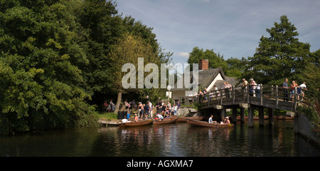 Hired rowing boats on the The River Stour at Historic Flatford in Suffolk England - Stock Photo