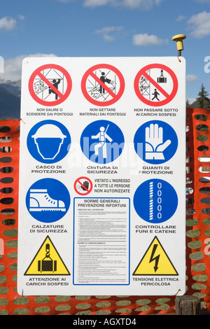 Italian building site warning and regulation sign - Stock Photo