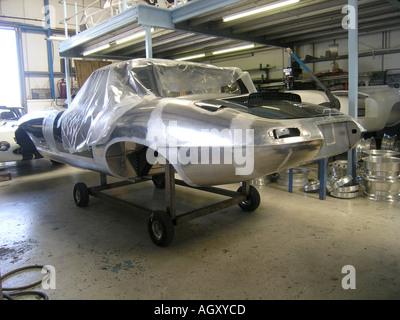 restored body shell of Jaguar E type - Stock Photo