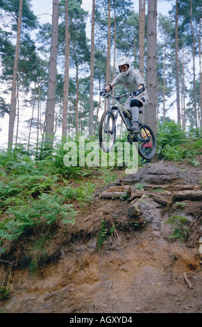 PICTURE CREDIT DOUG BLANE Mountain Biking at the bike park Brickhill Woods Wobrn Sands  near Milton Keynes MK - Stock Photo