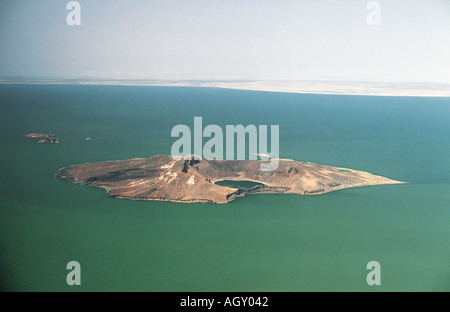 Aerial view of Central Island in Lake Turkana in northern Kenya East Africa - Stock Photo