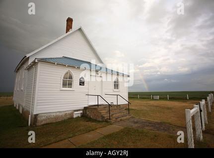 Painet Jn7912 Storm Clouds Behind Saskatchewan Country Church Summer Scene Rural Weather Atmospheric Scenery Sky