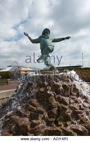 Jolly Fisherman statue in seaside resort of Skegness Lincolnshire. - Stock Photo