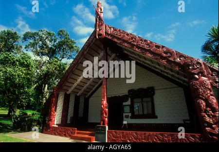 new zealand waitangi new zealand The meeting house Te Whare Runanga at Waitangi near Paihia Bay of Islands North - Stock Photo