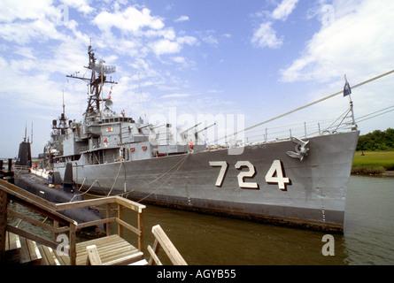Battleship At The Maritime Museum At Charleston South Carolina Sc