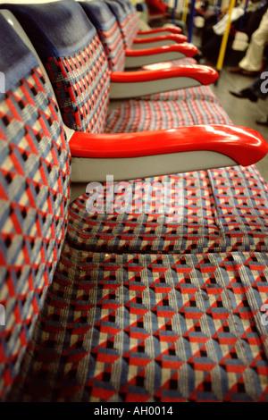 Empty seats on subway train - Stock Photo