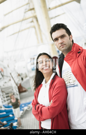 Portrait of a young couple on a passenger craft - Stock Photo