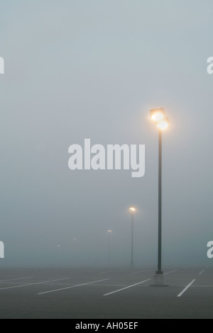 Foggy Parking Lights - Stock Photo