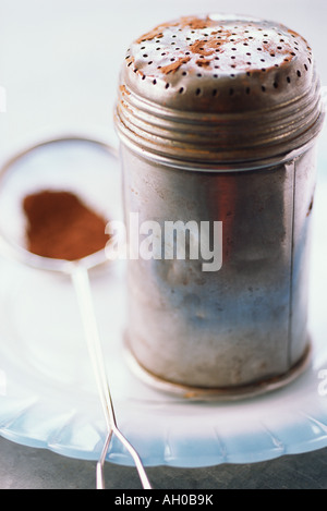 Metal shaker containing cocoa and sieve on plate, close-up - Stock Photo