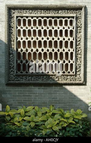 Decorative square vent in wall - Stock Photo