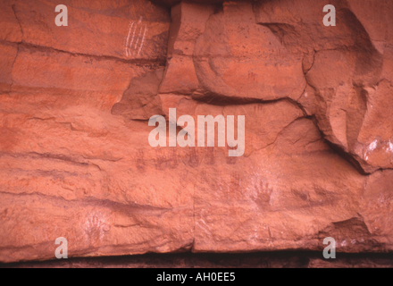 Pictographs in Horse Canyon, Utah - Stock Photo