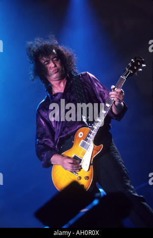 JIMMY PAGE - UK guitarist with his Les Paul guitar - Stock Photo