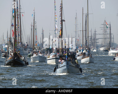 During the Sail Amsterdam 2005 tall ship event the water around Amsterdam the Netherlands is extremely crowded - Stock Photo