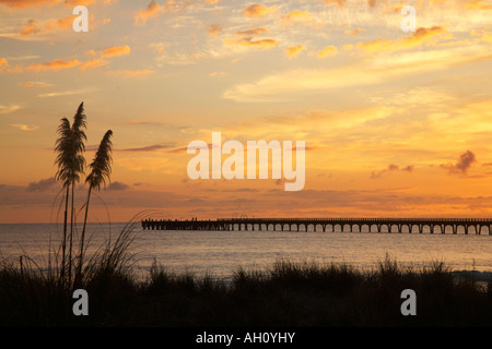 sunrise over sand dune and wharf at tolaga bay orange - Stock Photo