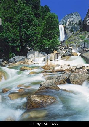 Below Vernal Falls in Yosemite National Park in California - Stock Photo