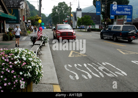 Downtown Gatlinburg, Tennessee, gateway to Great Smoky Mountains National Park - Stock Photo