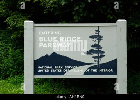 Entrance sign to Blue Ridge Parkway, near Asheville, North Carolina - Stock Photo