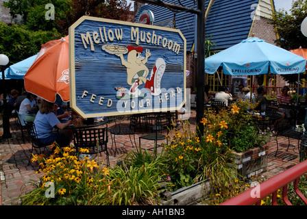 Mellow Mushroom pizza restaurant, a landmark establishment in Asheville, North Carolina - Stock Photo