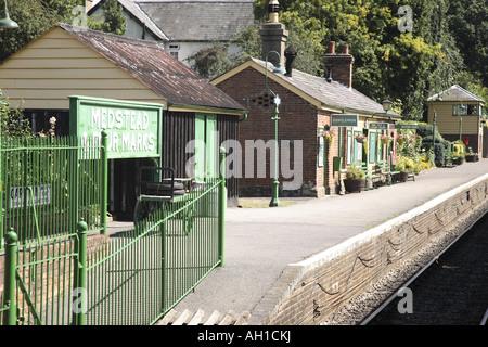 Medstead and Four Marks Railway Station on Watercress Line, Alresford, Hampshire, England, UK - Stock Photo