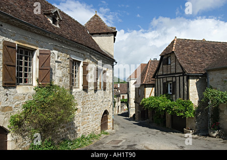 Street scene in Carennac Pays du Haut Quercy Dordogne - Stock Photo