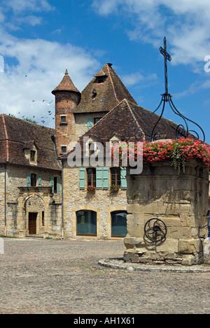 Market square bastide village of Bretenoux Dordogne 2005 - Stock Photo