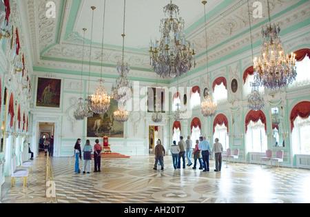 Scene from inside the Palace of Peterhof near Saint Petersburg Russia - Stock Photo